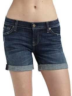7 For All Mankind - Rolled Cuff Distressed Denim Shorts