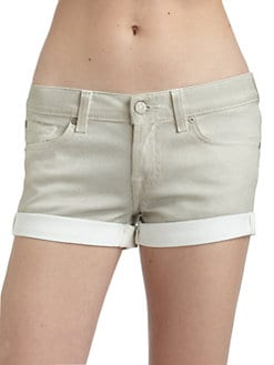 7 For All Mankind - Rolled Cuff Coated Denim Shorts