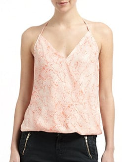 Chelsea Flower - Silk Printed Cross-Front Halter Top