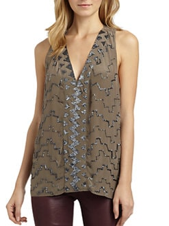 Chelsea Flower - Silk Geometric-Beaded Tank Top