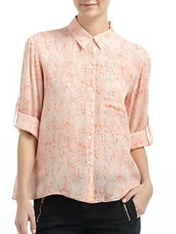 Chelsea Flower - Silk Crossback Button-Front Blouse