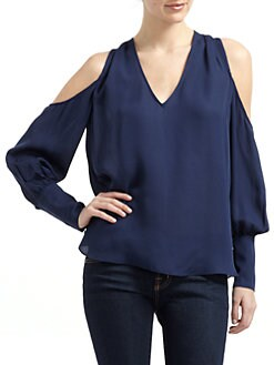Chelsea Flower - Silk Cold Shoulder V-Neck Blouse