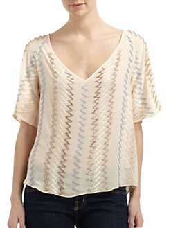 Chelsea Flower - Silk Zig-Zag Beaded Blouse