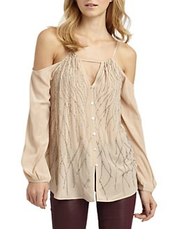 Chelsea Flower - Silk Beaded Cold Shoulder Blouse