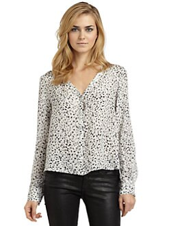 Chelsea Flower - Silk Printed Crossback Button-Front Blouse