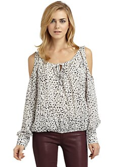 Chelsea Flower - Silk Printed Cold Shoulder Blouse
