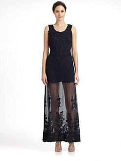 Candela - Sheer-Skirt Appliquéd Lace Maxi Dress