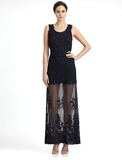 Candela - Sheer-Skirt Appliqu&eacute;d Lace Maxi Dress