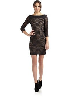 Catherine Malandrino - Mesh Ribbon Overlay Dress