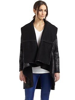 Catherine Malandrino - Oversize Collar Metallic Jacket