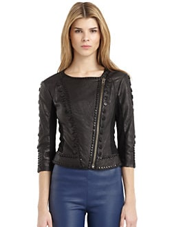 Catherine Malandrino - Leather Stud Detail Jacket