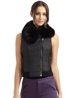 Catherine Malandrino - Fur Collar Quilted Vest