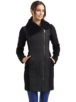 Catherine Malandrino - Quilted Asymmetric Zip Coat