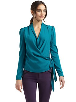 Catherine Malandrino - Stretch Silk Side-Tie Blouse