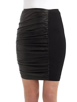Catherine Malandrino - Ruched Leather & Ponte Skirt