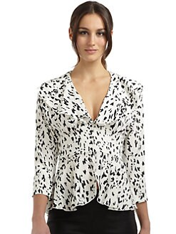 Catherine Malandrino - Stretch Silk Snow Leopard Blouse