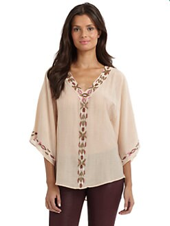 Love Sam - Cotton & Silk Tribal Bead Blouse