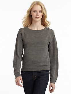 A+RO - Semi-Sheer Pullover Boatneck Sweater