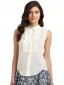 Z Spoke by Zac Posen - Novel Cloque Sleeveless Top