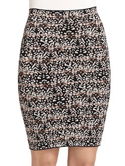 BCBGMAXAZRIA - Alexa Pheasant Feather Pencil Skirt