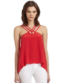 BCBGMAXAZRIA - Kasia Silk Strappy Top