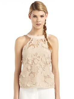 BCBGMAXAZRIA - Bennett Cotton & Silk Floral Applique Top