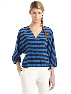 BCBGMAXAZRIA - Halistriped Silk V-Neck Blouse