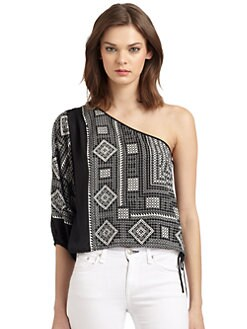 BCBGMAXAZRIA - Acacia Geometric Print One-Shoulder Blouse