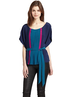 Akiko - Silk Chiffon Colorblock Pleated Top