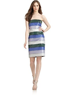 Giorgio Armani - Multi-Stripe Rhinestone Embellished Dress