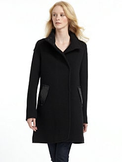 RUDSAK - Leather-Trim Back Pleat Coat/Black