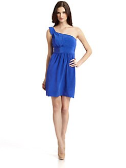 Andrew Marc - Ruffled One Shoulder Silk Dress/Electric Blue