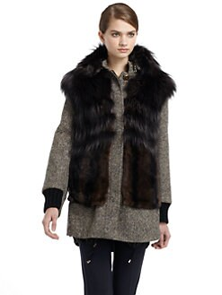 MaxMara - Lembo Rabbit Fur & Wool Tweed Coat
