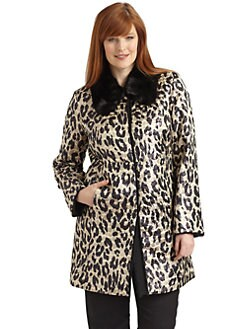 Marina Rinaldi, Salon Z - Fur-Trimmed Animal Print Jacket
