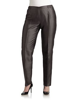 Marina Rinaldi, Salon Z - Raw Silk-Blend Pants