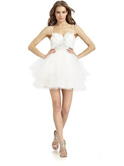 ABS - Strapless Feather and Tulle Dress