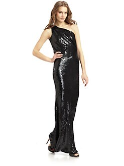 ABS - Sequin One Shoulder Gown
