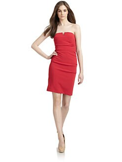 Nicole Miller - Ruched Strapless Satin Dress