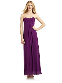 Nicole Miller - Ruched Silk Chiffon Strapless Gown