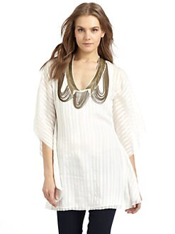 Sheri Bodell - Metallic Embellished Silk Tunic/White