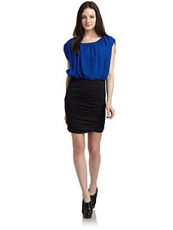 ADDISON - Blouson Colorblock Dress