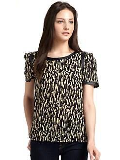 ADDISON - Printed Faux Leather Trim Top