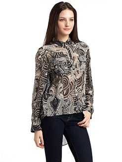 ADDISON - Printed Hi-Lo Blouse