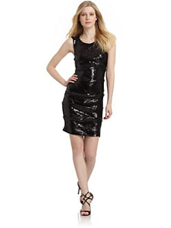 Nicole Miller - Shirred Stretch Sequined Sheath