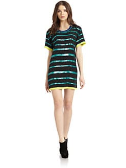Madison Marcus - Silk Chiffon Sequin-Striped Dress