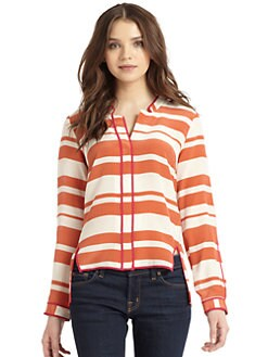 Madison Marcus - Silk Crepe Striped Blouse