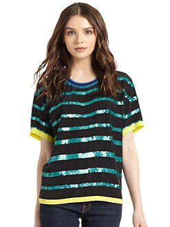 Madison Marcus - Silk Chiffon Sequin-Striped Top