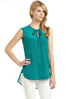 French Connection - High Summer Silk Hi-Lo Blouse