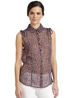 French Connection - Daisy Dew Floral Button-Front Blouse