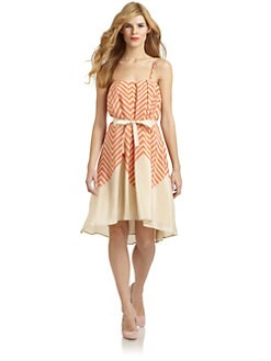 French Connection - Ziggy Silk Zigzag Contrast Dress